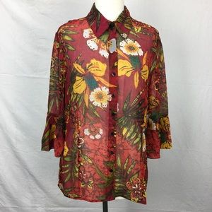 Chico's Red Kermadec Floral Print Shirt